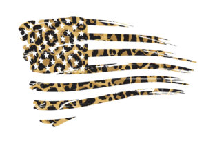 Print on Demand: Leopard Print American Flag PNG SVG Graphic Logos By SunandMoon
