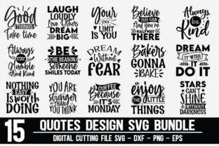 Print on Demand: Quotes Design Bundle | 15 Designs Graphic Crafts By Designdealy