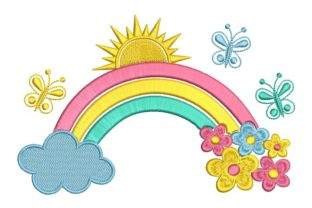 Print on Demand: Rainbow with Flowers Sewing & Crafts Embroidery Design By ArtEMByNatali
