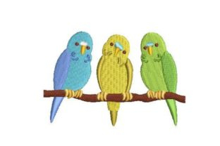 Row of Budgies Birds Embroidery Design By Embroidery Designs