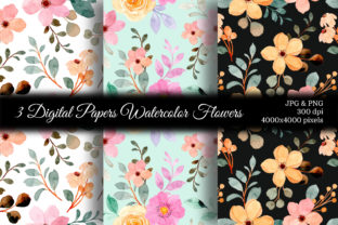 Print on Demand: Seamless Pattern Floral Watercolor 150 Graphic Patterns By asrulaqroni