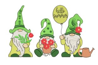 Print on Demand: Summer Gnomes Bouquets & Bunches Embroidery Design By ArtEMByNatali
