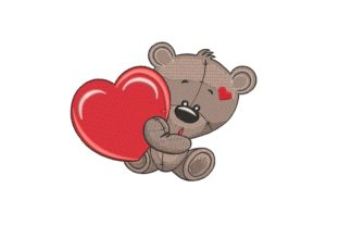 Print on Demand: Teddy Bear with Heart Animals Embroidery Design By ArtEMByNatali