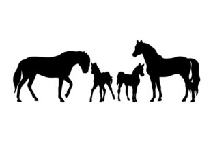 Horse Family Silhouettes Animals Craft Cut File By Creative Fabrica Crafts