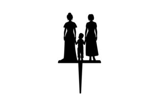 Family Wedding Cake Topper Two Brides and a Child Wedding Craft Cut File By Creative Fabrica Crafts