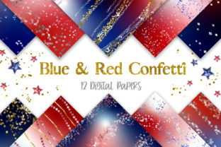 Print on Demand: Blue and Red Confetti Glitter Background Graphic Backgrounds By PinkPearly 1