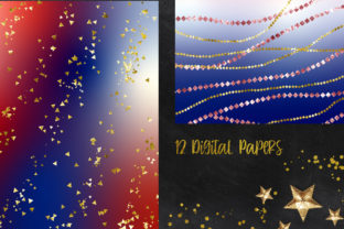 Print on Demand: Blue and Red Confetti Glitter Background Graphic Backgrounds By PinkPearly 2