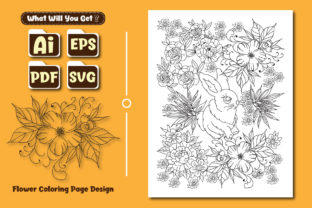 Print on Demand: Coloring Page Design with Rabbit-Flowers Graphic Coloring Pages & Books Adults By ivect