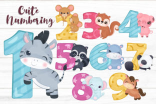 Print on Demand: Cute Animals Numbering Clipart Set Graphic Illustrations By DrawStudio1988
