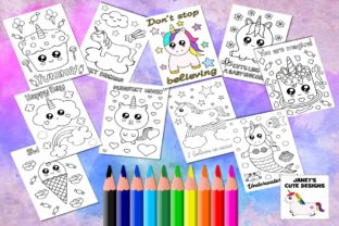 Print on Demand: Cute Unicorn Coloring Pages Graphic Coloring Pages & Books Kids By Janet's Cute Designs 2