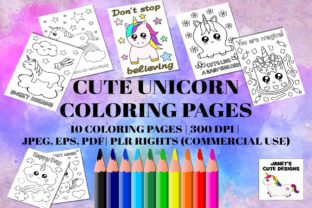 Print on Demand: Cute Unicorn Coloring Pages Graphic Coloring Pages & Books Kids By Janet's Cute Designs