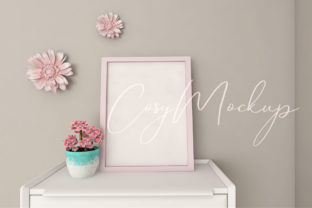 Cute Wedding Pink Wall Frame Mockup. Graphic Product Mockups By CosyArtStore by RivusDea