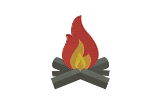 Fascinating Camp Fire Camping & Fishing Embroidery Design By DigitEMB