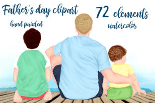 Print on Demand: Fathers Day Clipart Father with Kids Png Graphic Illustrations By LeCoqDesign
