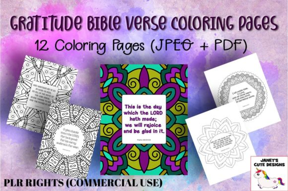 Gratitude Bible Verse Coloring Pages Graphic By Janet's Cute Designs ·  Creative Fabrica