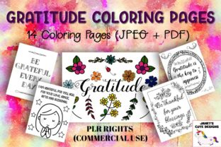 Print on Demand: Gratitude Coloring Pages Graphic Coloring Pages & Books Adults By Janet's Cute Designs