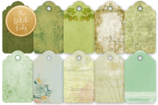 Print on Demand: Label & Tag Clipart Set Green Graphic Illustrations By daphnepopuliers