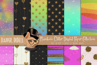 Rainbow Glitter Digi Paper Backgrounds Graphic Backgrounds By Dapper Dudell