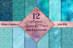Print on Demand: Aqua Leopard Print Backgrounds Graphic Backgrounds By SapphireXDesigns