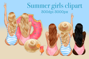 Girls on the Beach Clipart Summer Sea Graphic Illustrations By Arte de Catrin