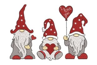 Print on Demand: Gnome Love Embroidery Valentine's Day Embroidery Design By ArtEMByNatali