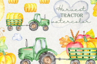 Harvest Tractor Watercolor Clipart Graphic Objects By Marina Ermakova