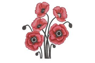 Print on Demand: Poppies Bouquets & Bunches Embroidery Design By ArtEMByNatali