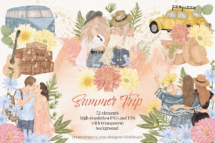 Print on Demand: Summer Boho Travel Girl Couple Clipart Graphic Illustrations By PawStudio