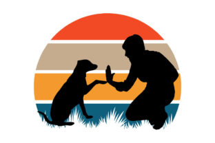 Print on Demand: Dog Dad Retro Sunset PNG SVG Graphic Logos By SunandMoon