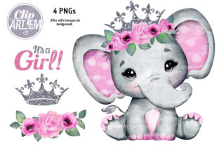 Print on Demand: Pink Silver Floral Crown Girl Elephant Graphic Illustrations By clipArtem
