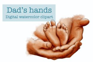 Dads Hand Clipart, Baby Feet - 1