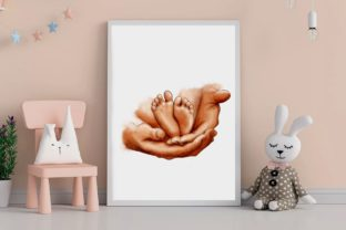 Dads Hand Clipart, Baby Feet - 3
