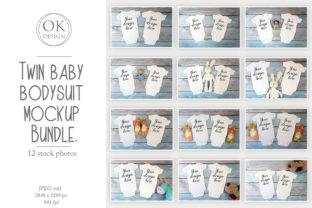 Kids Mockup Bundle of Two Baby Bodysuits Graphic Product Mockups By OK-Design