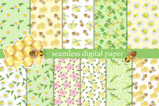 Summer Digital Paper.  Bees with Flowers Graphic Add-ons By EvArtPrint