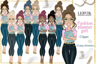 Print on Demand: Woman Clipart Denim Fashion Girl Clipart Graphic Illustrations By LerVik 1