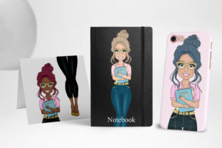 Print on Demand: Woman Clipart Denim Fashion Girl Clipart Graphic Illustrations By LerVik 4