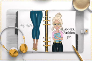 Print on Demand: Woman Clipart Denim Fashion Girl Clipart Graphic Illustrations By LerVik 5