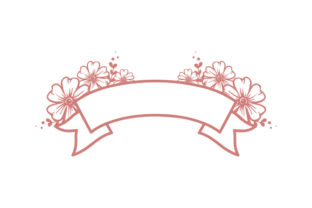 Blank Banner with Flowers Designs & Drawings Craft Cut File By Creative Fabrica Crafts 1