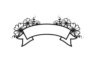Blank Banner with Flowers Designs & Drawings Craft Cut File By Creative Fabrica Crafts 2