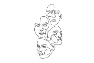 Print on Demand: 4 Face Relatives Embroidery Design By ArtEMByNatali