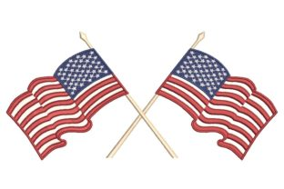 Print on Demand: American Flag Independence Day Embroidery Design By ArtEMByNatali