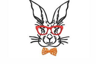 Bunny with Glasses Animals Embroidery Design By SonyaEmbroideryStore