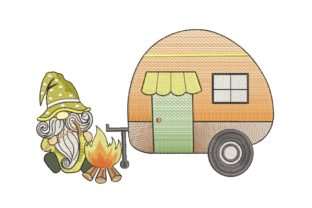 Print on Demand: Camping Gnome Camping & Fishing Embroidery Design By ArtEMByNatali