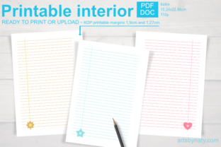Print on Demand: Cute Printable Notebook Paper for KDP. Graphic KDP Interiors By artsbynaty