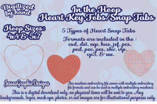 Print on Demand: Heart Key Fob Shapes Embroidery Design By JessasGraphicDesgins