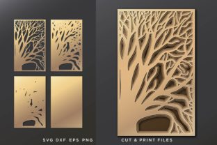 Layered Decorative Panel SVG, Tree SVG Graphic 3D SVG By 2dooart