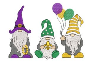 Print on Demand: Mardi Gras Gnomes Fairy Tales Embroidery Design By ArtEMByNatali