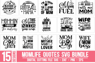 Print on Demand: Momlife Quotes Bundle Graphic Crafts By Designdealy