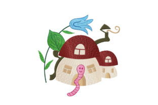 Print on Demand: Mushroom House for a Worm Nursery Embroidery Design By EmbArt