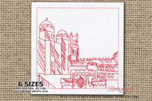 Pena National Palace Portugal Vacation Embroidery Design By Redwork101